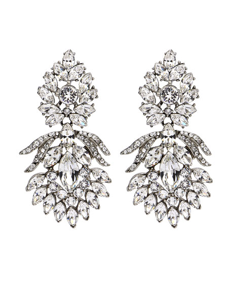Crystal Peacock Clip-On Earrings