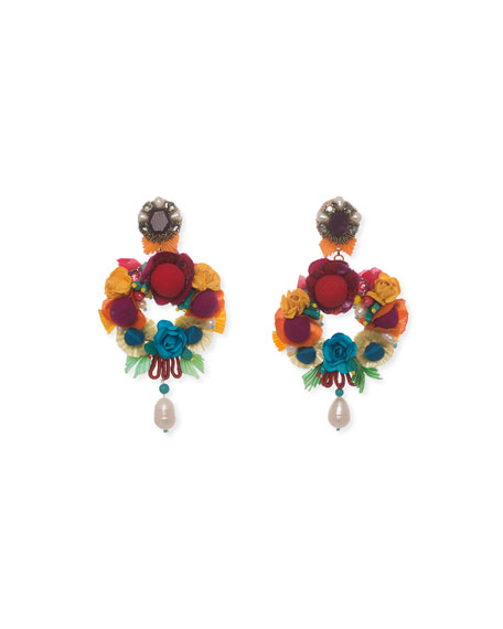 Ranjana Khan Lovebird Floral Drop Earrings
