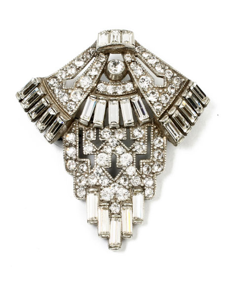 Ben-Amun Geometric Crystal Deco Brooch