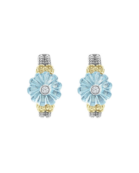 18k Caviar Forever Half Moon Earrings, Sky