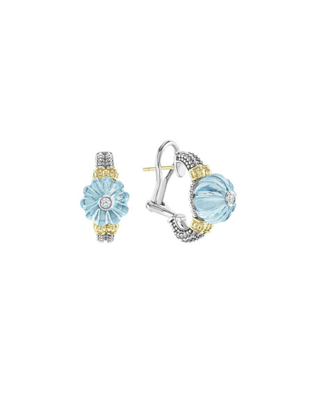 Lagos 18k Caviar Forever Half Moon Earrings, Sky