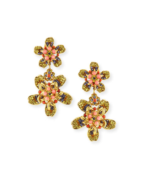 Jose & Maria Barrera Double Flower Drop Earrings
