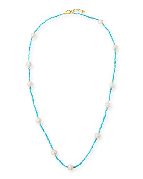 "Dina Mackney Long Sleeping Beauty Turquoise & Pearl Necklace, 36"""