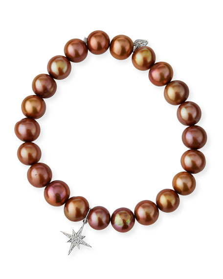 Champagne Pearl Bead Bracelet w/ 14k Starburst Charm