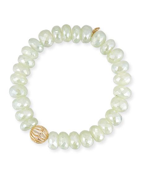 Prehnite Bead Bracelet w/ 14k Diamond Wire Charm