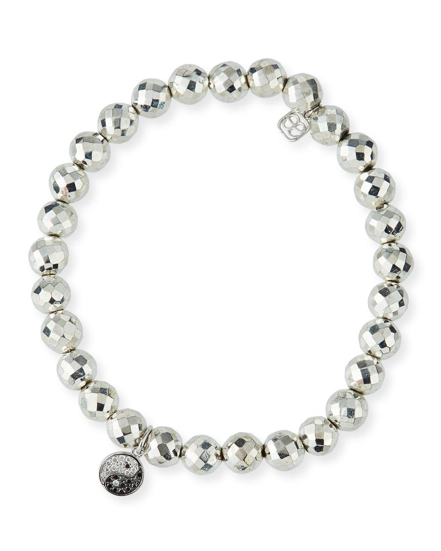 Sydney Evan Pyrite Bead Bracelet w/ 14k Yin Yang Charm fRdu8v