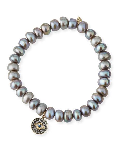 Sydney Evan Gray Pearl Bead Bracelet w/ 14k