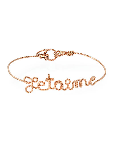 Personalized 10-Letter Twist Wire Bracelet, Rose Gold Fill