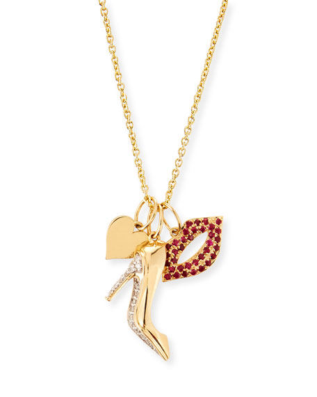Sydney Evan 14k Heart, Stiletto & Lips Trio