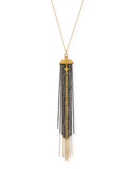 Armenta Old World Two-Tone Chain Tassel Necklace