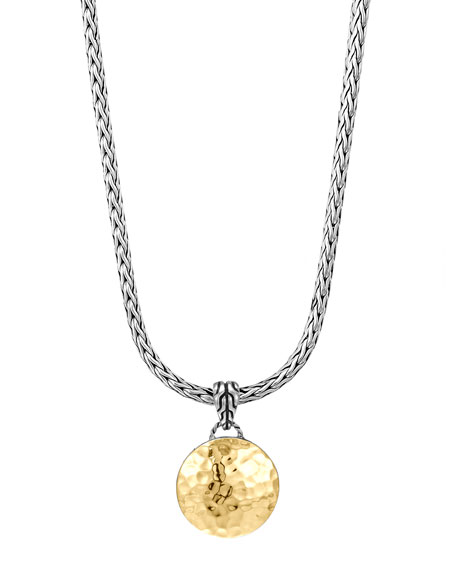 John Hardy Dot Hammered Gold & Silver Pendant Necklace