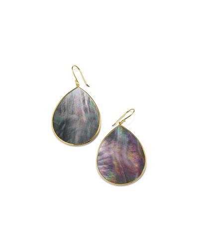 18k Polished Rock Candy Large Teardrop Slice Earrings