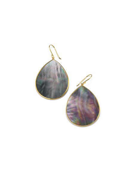 18k Polished Rock Candy Large Teardrop Slice Earrings