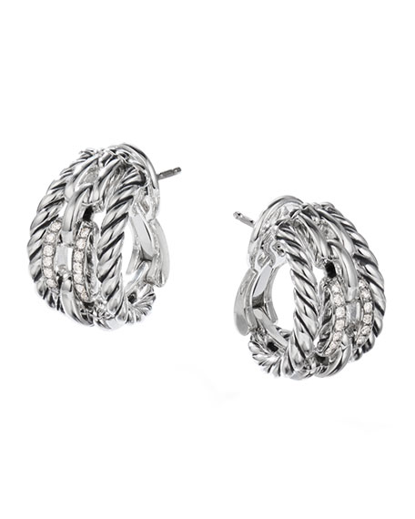 David Yurman Wellesley Link Huggie Hoop Earrings w/ Diamonds