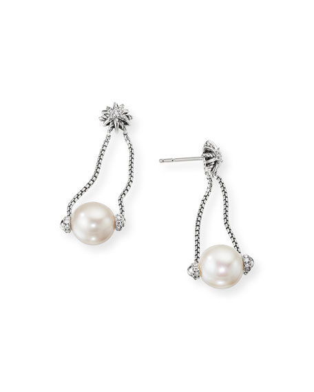 David Yurman Starburst Diamond & Pearl Drop Earrings