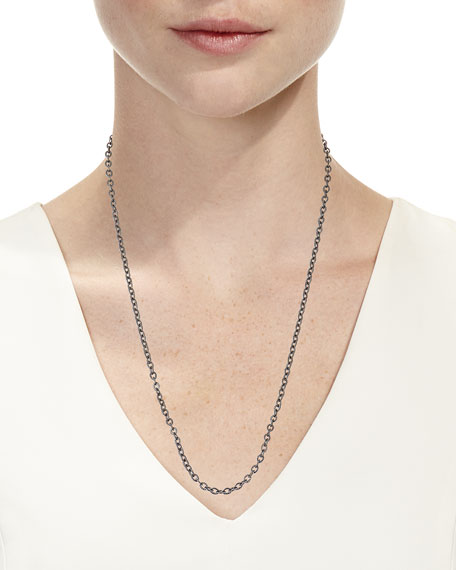 """Margo Morrison Rhodium-Plated Sterling Silver Chain Necklace with Diamond Clasp, 24"""""""