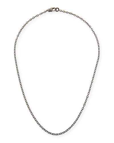Rhodium-Plated Sterling Silver Chain Necklace with Diamond Clasp, 24