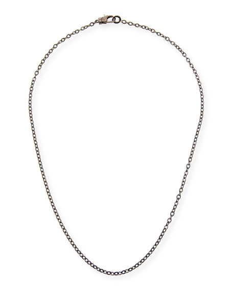 Rhodium-Plated Sterling Silver Chain Necklace with Diamond Clasp, 24""