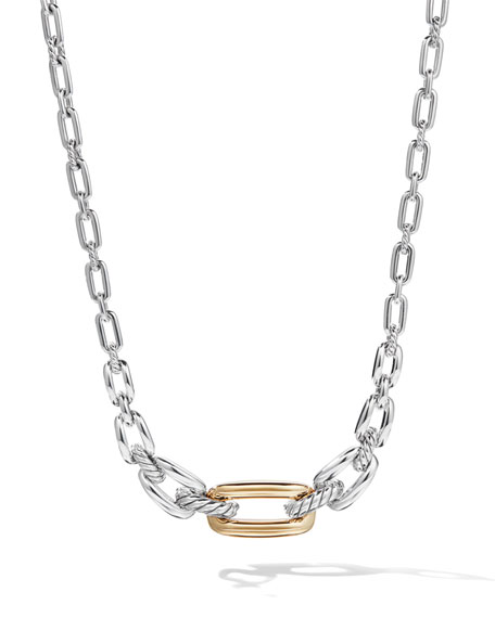 David Yurman Wellesley Short Silver Link Necklace w/ 18k Gold