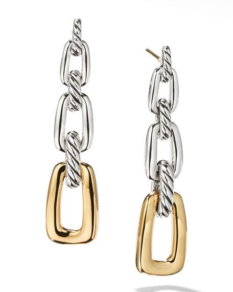 David Yurman Wellesley Silver 3-Link Drop Earrings w/ 18k Gold
