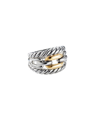 Wellesley Link Three-Row Ring w/ 18k Gold