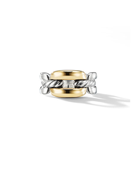 Wellesley Link Medium Chain Link Ring In Sterling Silver With 18K Yellow Gold in Gold/Silver