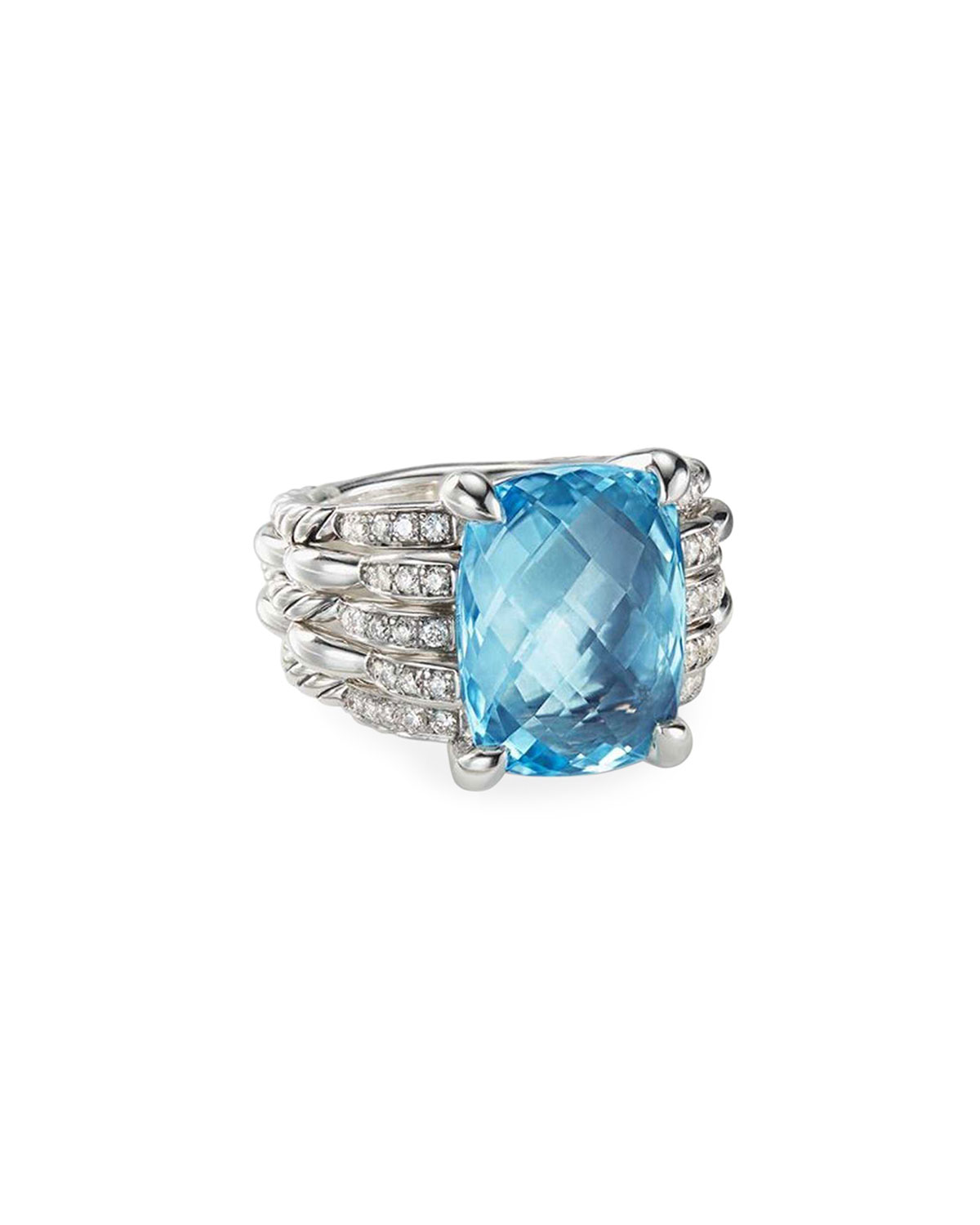 defff72f0a27 David Yurman Tides Diamond   Blue Topaz Ring