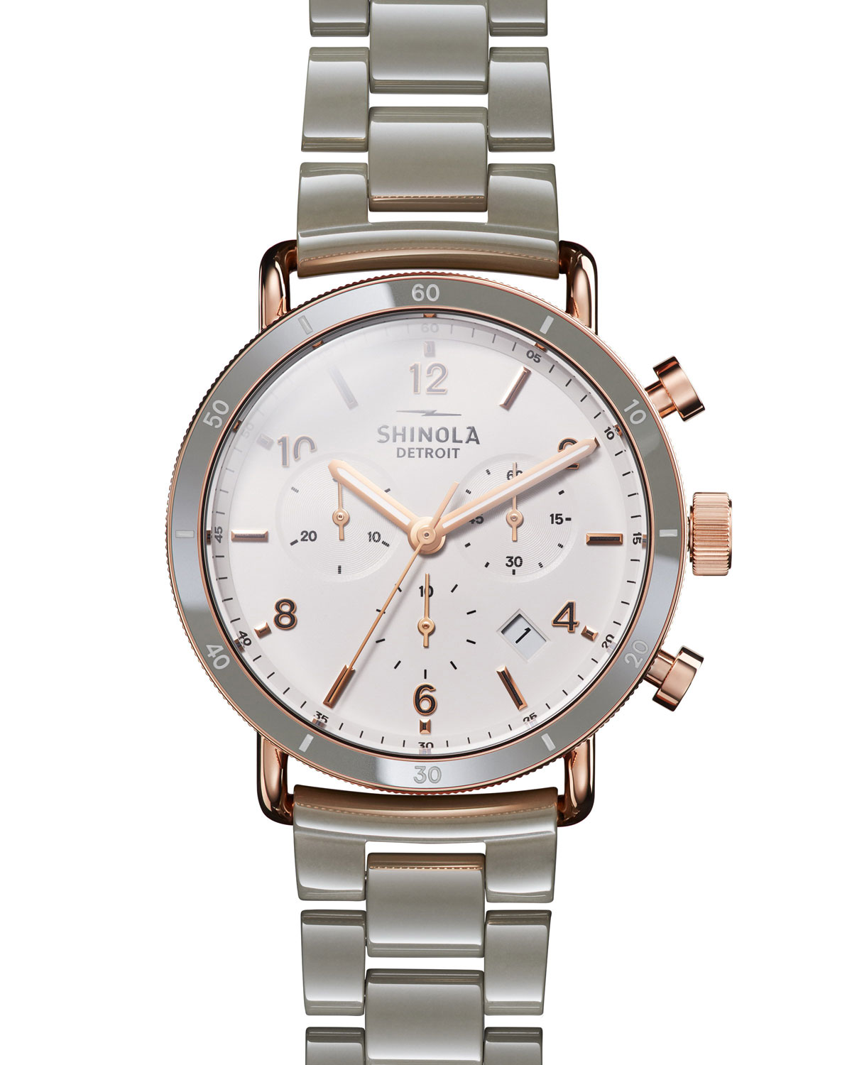 Shinola Canfield Sport 40mm 3-Eye Chronograph Watch with Bracelet