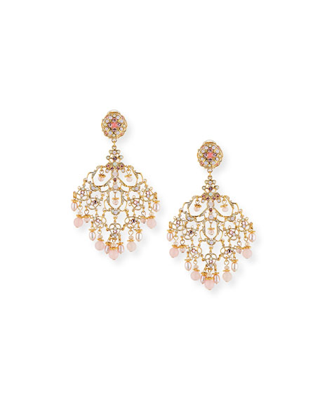 Pearly Filigree Chandelier Earrings