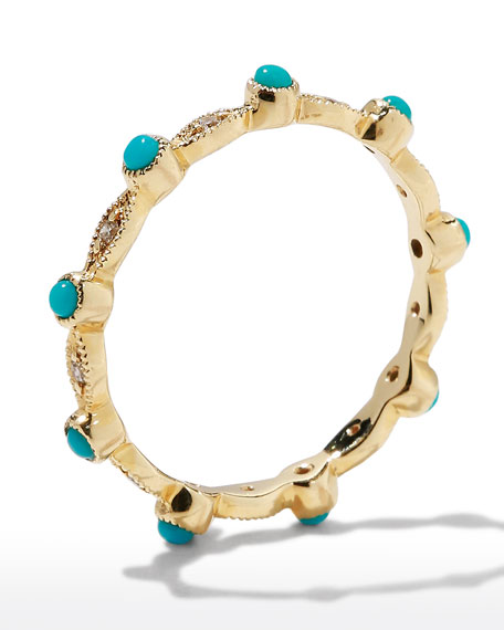 Sydney Evan 14k Turquoise & Diamond Eternity Band Ring