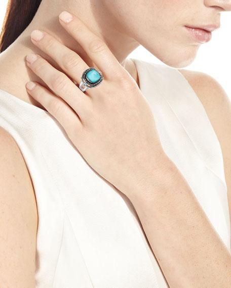 New World Cushion Turquoise & Quartz Doublet Ring