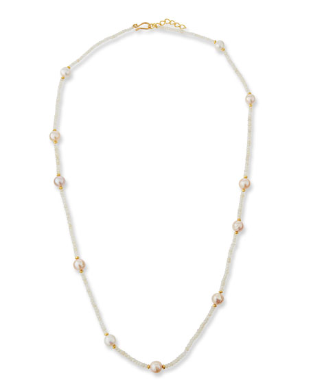 """Chalcedony & Pearl Strand Necklace, 36"""""""