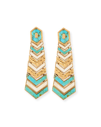 Turquoise & Bone Chevron Drop Earrings