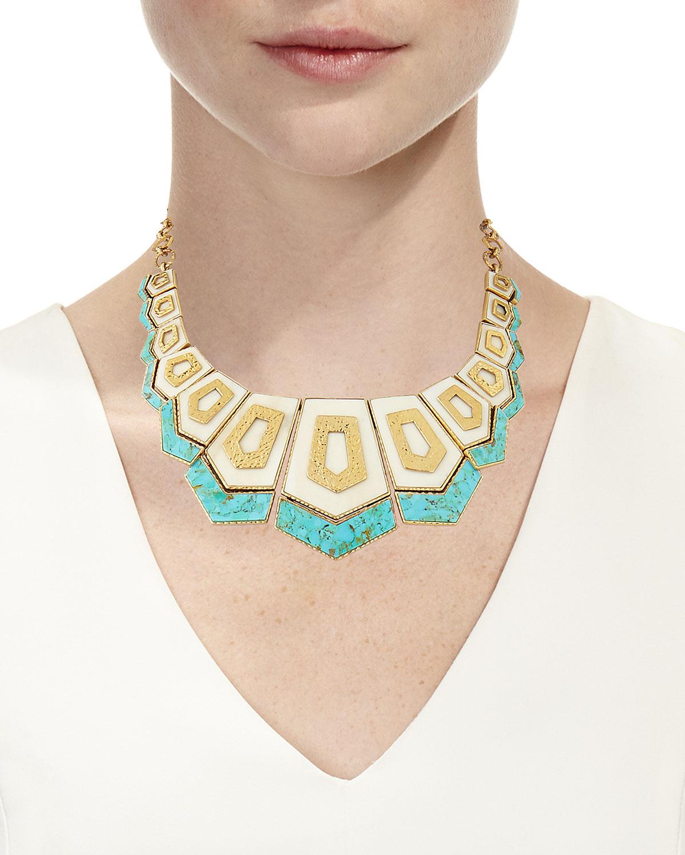 Akola Turquoise & Bone Hexagon Bib Necklace g5uQSA3Kjp