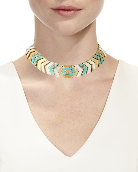 Turquoise & Bone Chevron Collar Necklace
