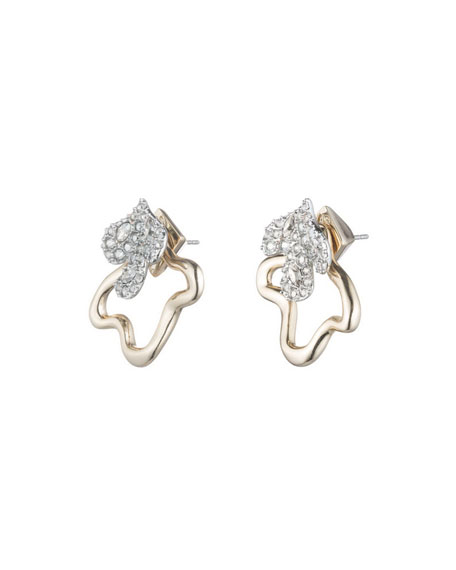 Crystal Encrusted Earrings w/ Freeform Jacket