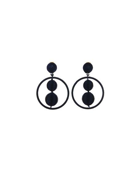 Threaded Bead Hoop Earrings