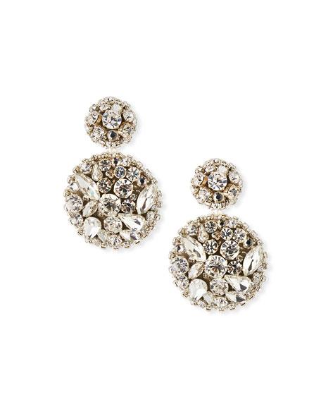 Oscar de la Renta Jeweled Disk Clip-On Earrings