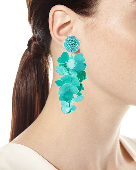 Falling Flower Cluster Clip Earrings