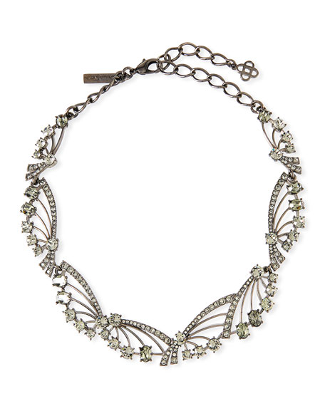 Oscar de la Renta Crystal Fan Necklace