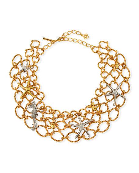 Oscar de la Renta Fishnet Starfish Necklace