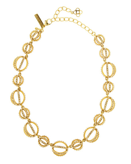 Oscar de la Renta Crystal Pave Globe Necklace