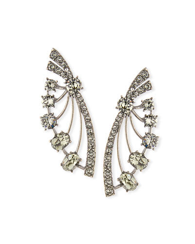 Crystal Fan Post Earrings