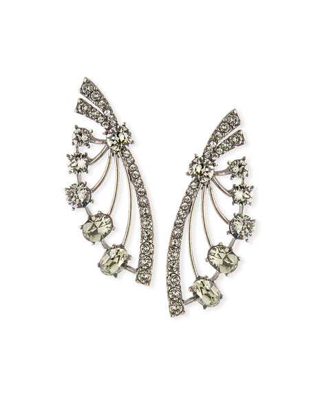 Oscar de la Renta Crystal Fan Post Earrings