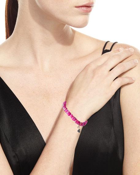 Sydney Evan Pink Moonstone Beaded Bracelet w/ 14k Double-Heart Charm
