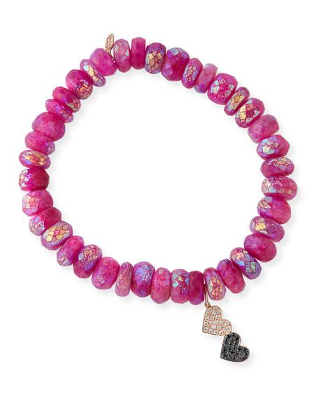 Pink Moonstone Beaded Bracelet w/ 14k Double-Heart Charm