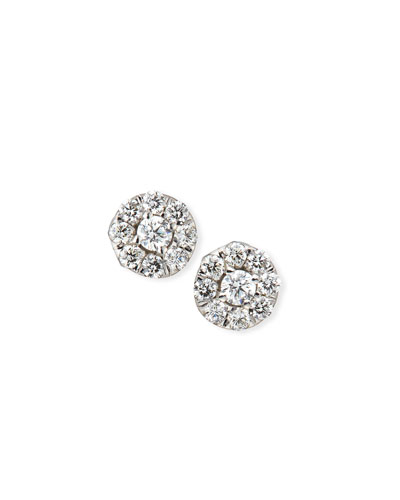 18k White Gold Diamond Halo Stud Earrings