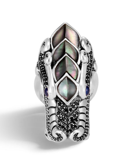 Legends Naga Silver Mother-of-Pearl Ring, Size 7