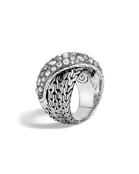 John Hardy  Classic Chain Silver Diamond Crossover Ring