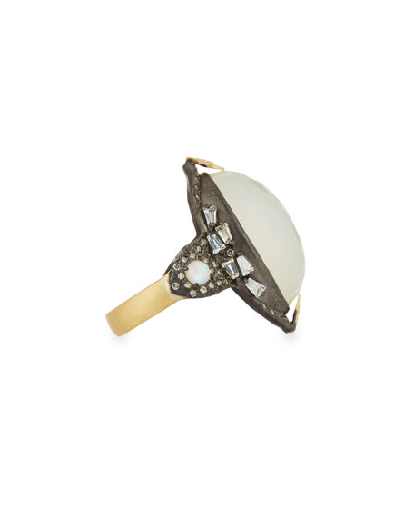 Armenta Old World Oval Opal Triplet Ring w/ Diamonds